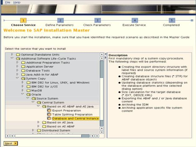 SAP NW 7.0 Export - EHP Upgrade - Choose Service 2