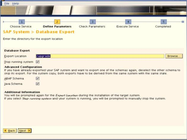 SAP NW 7.0 Export - EHP Upgrade - SAPINST - Define Parmeters - Database Export