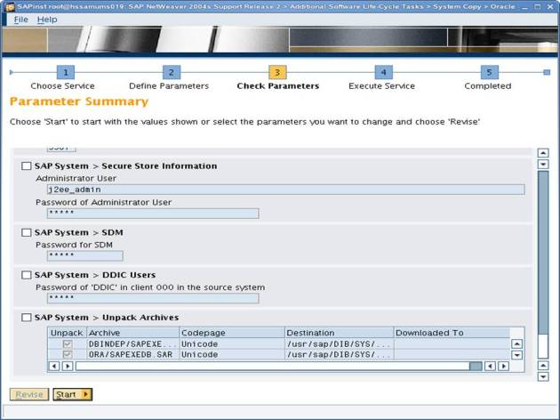 SAP NW 7.0 Export - EHP - SAPINST - Parameter Summary 10